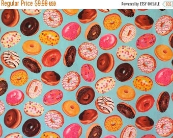 ON SALE Clever Iced Donuts on Aqua Print Pure Cotton Fabric--By the Yard