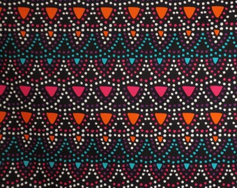 Colorful Confetti Stripe on Black Stretch Cotton Sateen Fabric--By the Yard