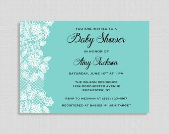 Tiffany Blue Baby Shower Invitation, Tiffany Blue and White Lace Invite, Gender Neutral, DIY PRINTABLE
