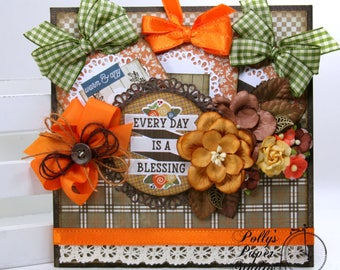 Every Day is a Blessing Pocket with Tags Fall-Thanksgiving Polly's Paper Studio Handmade