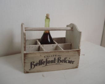 Dollshouse miniature bottles holder - dollhouse bottles crate - 1:12th one inch scale - dollshouse kitchen