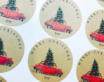 Merry Christmas 2017 Round labels ( 2 sheets of 12)