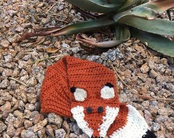 Little Fox Scarf - Fox Scarf - Fox wrap - Little Red Fox Scarf -  Fox Stole - Fox Ascot - Children's Scarf