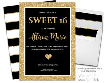 Sweet 16 Invitation - Sweet Sixteen Invitations - Girls 16th Birthday - Sweet 16 Party - Black and Gold Birthday - Gold Glitter - Teenager