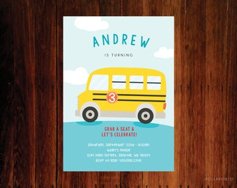 Wheels on the Bus Birthday party invitation, Bus party pack
