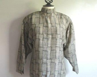 50OFF Event Vintage 80s Designer Blouse JEAN CLAUDE Poitras 1980s Black Graphic Blouse Small