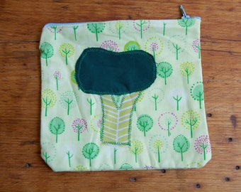 Broccoli Green Tree Zipper Pouch