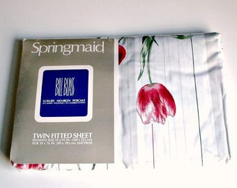 Springmaid Twin Fitted Sheet Simply Tulips Bill Blass Luxury No Iron Percale New Old Stock In Plastic Vintage