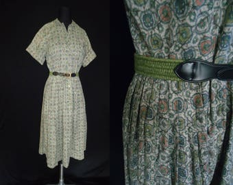 Rockabilly Green Cotton Vintage 1950's Women's Day Dress M L