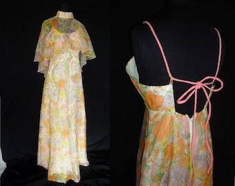 Sheer Gauzy Floral Vintage 1970's HIPPIE Women's MAXI Dress XS S