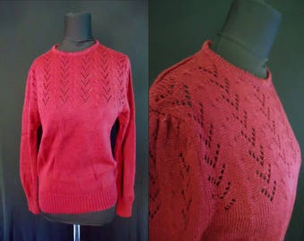 Cranberry Red Knit Vintage 1980's NOS Women's Puffsleevd Sweater M