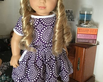 Purple pocket dress fits American girl 18in dolls