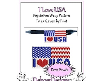 Peyote Beading Pattern (Pen Wrap/Cover)-I Love USA