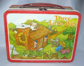Three Little Pigs 1982 By Ohio Art.Metal Lunchbox