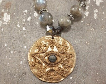 Star Eye Necklace Gray Star Jewelry Unique Hippie Chic Knotted Labradorite Necklace Bohemian Star Necklace