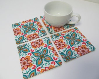 Set Of 4 Fabric Coasters/Orange Flower