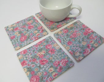 Set Of 4 Fabric Coasters/Pink Flowers