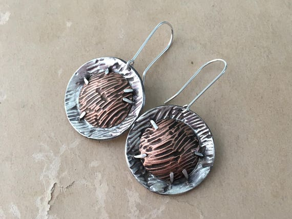 Mixed Metal Earrings | Silver and Copper Earrings | Dramatic Earrings