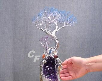 Wire Tree Of Life sculpture, Wind Tree Spirit, Uruguay Amethyst Quartz, Sea Shell, Blue Kyanite, Carnelian, unique home decor metal tree art