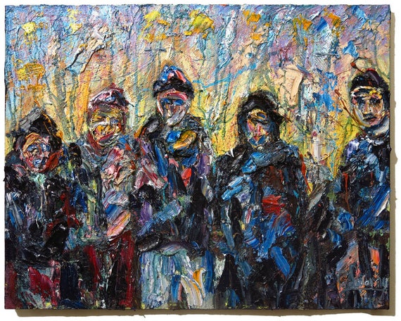 SOLD - Oil Paint on Stretched Canvas of 24 by 30 by 3/4 in. / Original oil painting  impressionist art signed abstract pop large