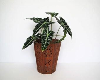 Vintage wood planter/boho planter/global decor/carved wood planter/waste basket
