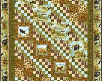 Wildlife Pathways Quilt ePattern, 4672-12e, twin quilt pattern, man twin quilt, wilderness twin quilt