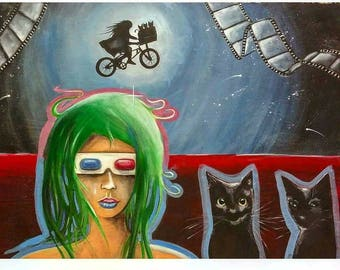 24-in x 18-in Original Painting- 3D glasses and black cats