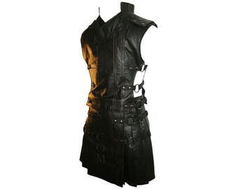 Interchangeable Black Leather Utility Kilt & Vest Suit with Priest Collar Custom Fit Adjustable