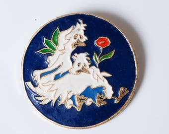 Vintage metal pin, The Russian children fairy tale, The Duck. Badge  from USSR.