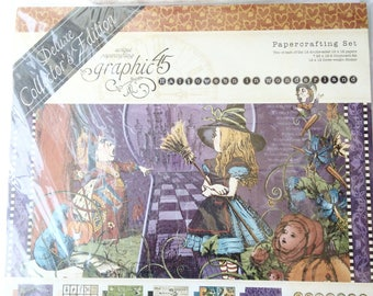 Graphic 45 Alice in Wonderland Deluxe Collector's Edition NEW (paper stickers chipboard tags)