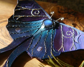 Fantasy Moth Cloak, Shawl or Dress Clasp in Purples and Blues with Labradorite & Leather