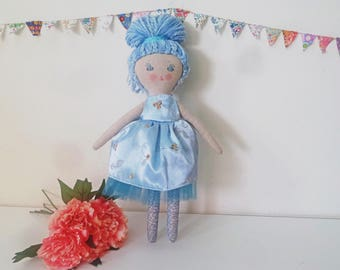 "For Tina Miss Belinda Blue Doll, Blue Haired Doll, Cloth Doll, Fabric Doll, Girl Doll, 17"" Doll, Rag Doll, Soft Toy"