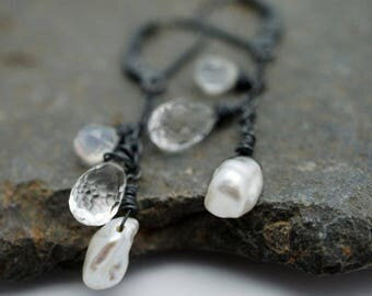 Moonlight Earrings - Moonstone, Clear Topaz and Keshi Pearl, Oxidized Sterling Silver, Clear, White, Shimmer, Iridescent