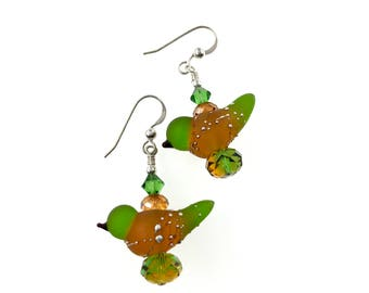 Lampwork Earrings, Bird Glass Bead Earrings, Dangle Earrings, Fun Earrings, Glass Bead Jewelry, Unique Animal Earrings, Lampwork Jewelry