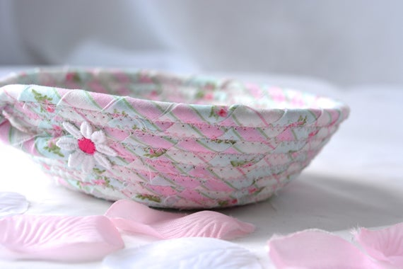 Shabby Chic Floral Basket, Handmade Pink Bowl, Pink Floral Candy Dish, Cute Desk Accessory Basket, Stocking Stuffer