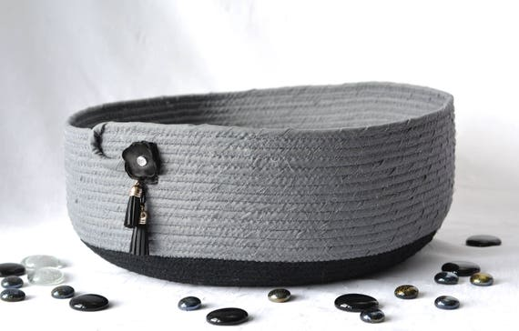 Pet Bed Furniture, Hand Coiled Cat Bed, Gray Fabric Basket, Modern Cat Bed, Dog Bed, Black and Grey Fabric Basket, Magazine Bin