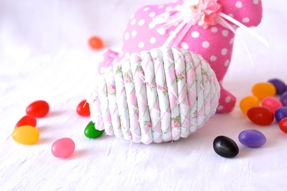 Shabby Chic Easter Egg Ornament, Handmade Pink Rose Easter Egg Decoration, Bowl Filler, Easter Egg Hunt, Hand Coiled Fiber Easter Egg