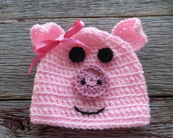 Little Piggy Crocheted Baby Hat, Crocheted Baby Hat, Crocheted Baby Beanie, Crocheted Piggy Hat, Crocheted Baby Beanie