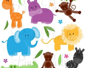 BACK TO SCHOOL Sale Zoo Animals Photoshop Brushes, Jungle Safari Animals Photoshop Brush - Commercial and Personal