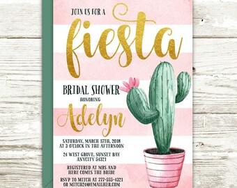 Cactus Fiesta Bridal Shower Printable Invitation, Cactus Party Bachelorette Hen's Night Fiesta Party Printable