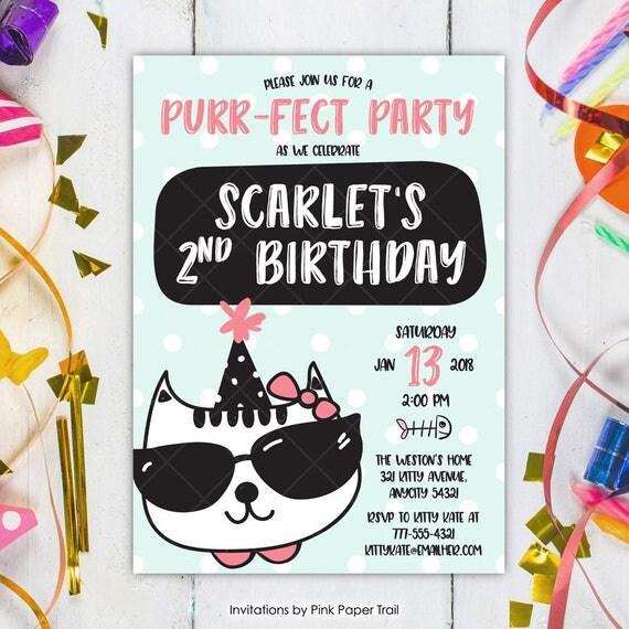 Cute kitty cat birthday party invitation kitty birthday invitation il570xn filmwisefo
