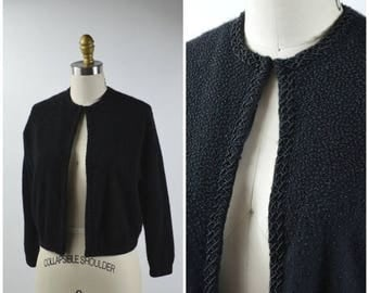 July Sale 1950s Beaded Cardigan Size Medium Black Cashmere Sweater Black Seed Bead Beading Silk Lining Amazing Condition