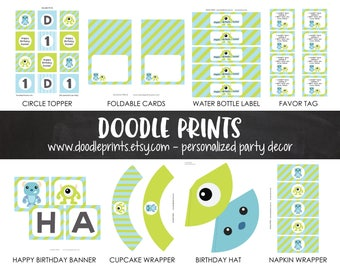 Printable Monsters INC Birthday Party Decor Package, Customized Personalized, Digtial Printable Package, Monsters Inc Party, Mike & Sully