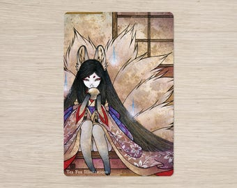 Hoshi no Tama / Kitsune Fox Ninetails Yokai / Japanese Asian Style / 4x6 Glossy Postcard Rounded Corners