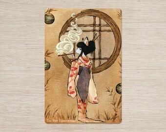 Discontinued Item / Okina / Kitsune Geisha / 4x6 Glossy Postcard Rounded Corners