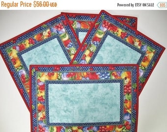 Sale Christmas in July Fruit Place Mats Reversible Set of 4, handmade,   fabric from South Sea Imports Summer Preserves line