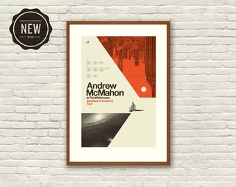 Mid Century Modern, Chicago - Andrew McMahon in the Wilderness, 12 x 18 Offset Lithograph Poster, Hipster, Space, Galaxy, Geometric, Swiss