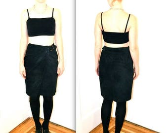 SALE 90s Vintage Suede Leather Skirt Black// Vintage Black Suede Wrap Skirt size Small Medium