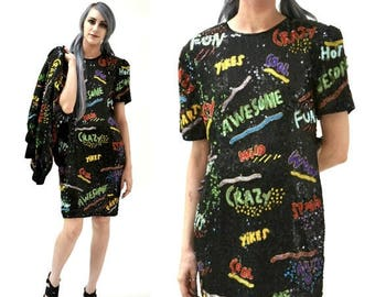SALE Vintage Sequin Dress Black Size small Medium By Modi Pop Art// 90s Vintage Beaded Dress with 90s Words Awesome Fun Crazy
