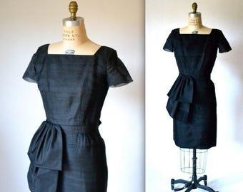 SALE 50s Vintage Black Organza Dress FIt Formal Dress Size Small Medium by Justin McCarty// Vintage Black Shift Dress Pin Up
